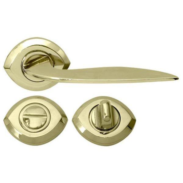 Ручка дверная WC с накладками под повортник  LZF-0081 PB золото RDA