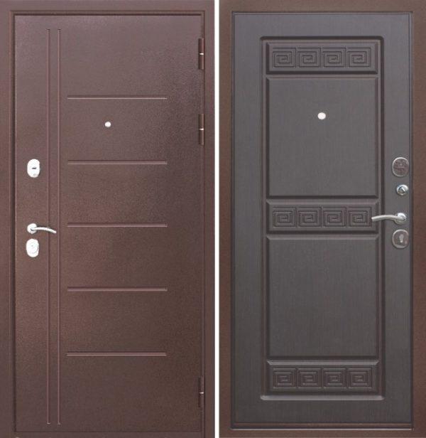 Дверь входная металлическая 10 см ТРОЯ медный антик / венге левая 860х2050 мм Цитадель